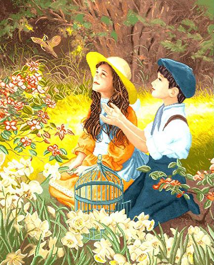 نخ و نقشه تابلوفرش بازی با قناری در باغ