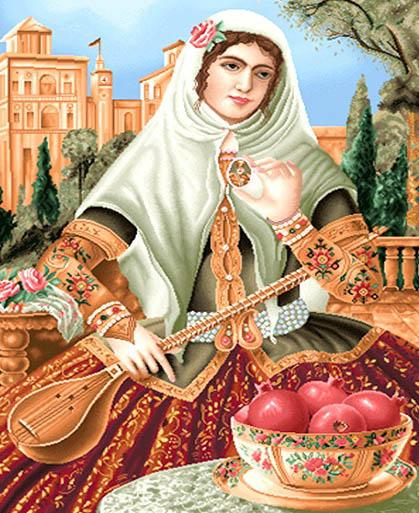نخ و نقشه تابلوفرش کامپیوتری طرح دختر قاجار سه تار زن کد 287
