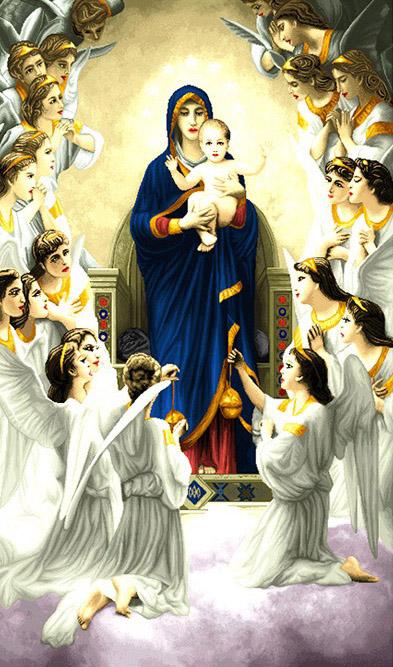 نخ و نقشه آماده بافت تابلو فرش مریم مقدس کد 1374