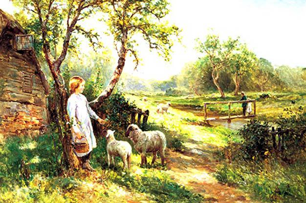 نخ و نقشه تابلوفرش روستا گوسفندان کد 540