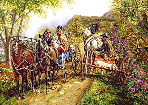 نخ و نقشه آماده بافت طرح اسب و جاده کاروان