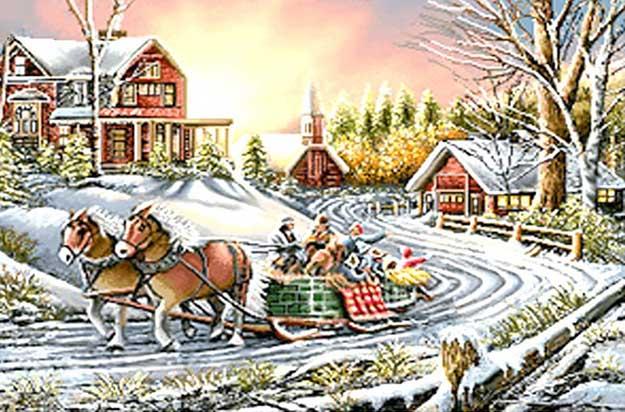 نخ و نقشه تابلوفرش اسب ها در جاده زمستانی