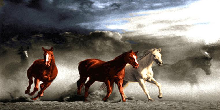 نخ و نقشه تابلوفرش اسب های دونده