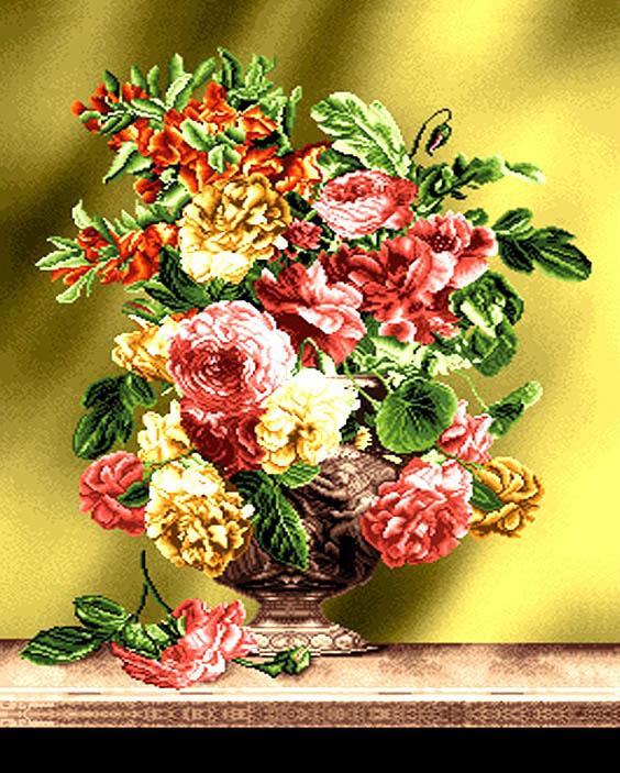 نخ و نقشه گل و گلدان کد 1735