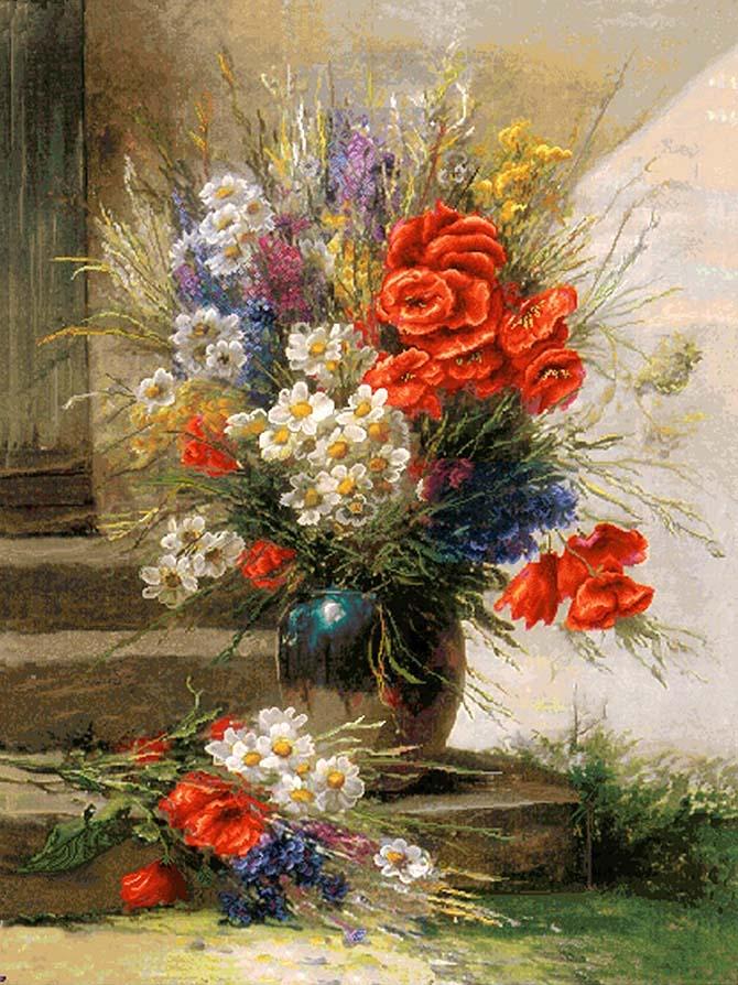 نخ و نقشه آماده تابلوفرش گل و گلدان