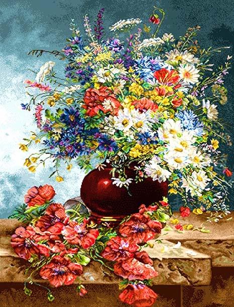 نخ و نقشه طرح گل و گلدان کد 297