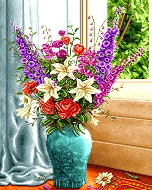 نخ و نقشه گل و گلدان کنار پنجره