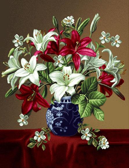 نخ و نقشه تابلوفرش آماده بافت گل و گلدان