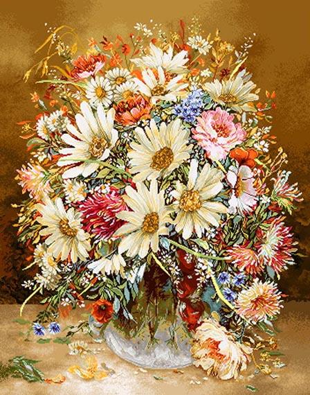 نخ و نقشه آماده بافت تابلوفرش طرح گل و گلدان کد 4014