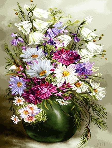 نخ و نقشه تابلوفرش گل و گلدان