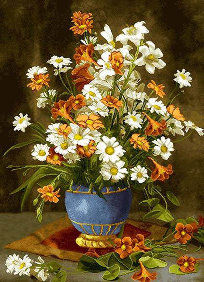 نخ و نقشه تابلوفرش آماده بافت طرح گل و گلدان