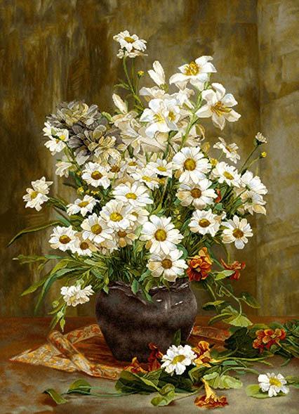 نخ و نقشه و لوازم و مصالح بافت تابلو فرش طرح گل و گلدان کد 4011