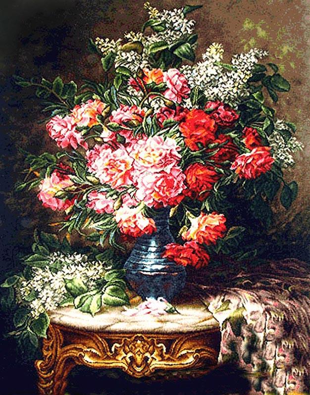 نخ و نقشه آماده بافت گل و گلدان