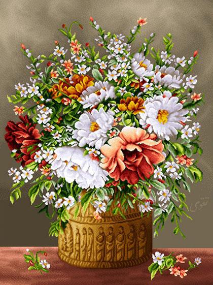 نخ و نقشه تابلو فرش گل و گلدان کد 4004