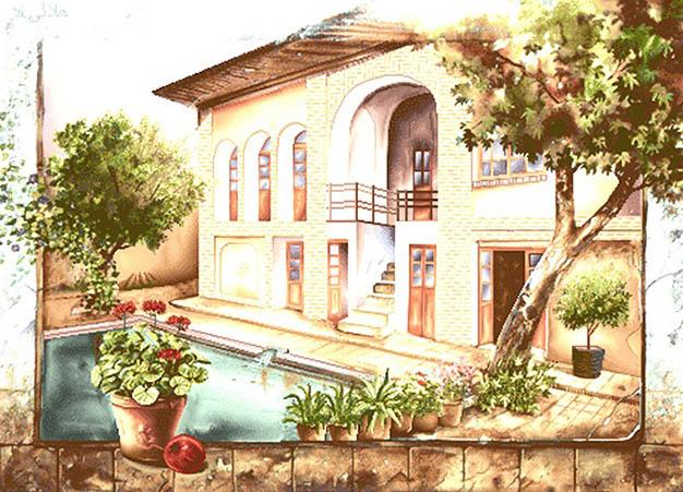 نخ و نقشه تابلوفرش منظره خانه قدیمی و حوض و گلدان