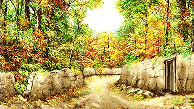 نخ و نقشه و مصالح و لوازم آماده بافت تابلوفرش کامپیوتری طرح منظره کوچه باغ پاییزی کد 517