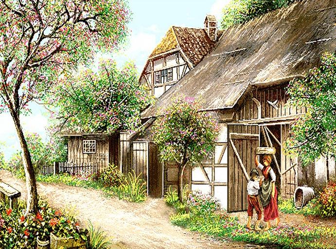 نخ و نقشه بالو فرش کلبه و طبیعت بهاری