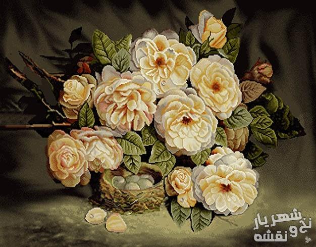 نخ و نقشه تابلوفرش گل رز