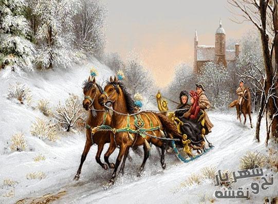 نخ و نقشه تابلوفرش اسب سواری زمستانی 3012