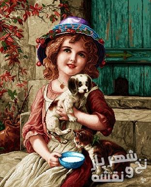 نخ و نقشه آماده بافت تابلوفرش طرح دختر بچه و سگ و گربه اش - کد b33