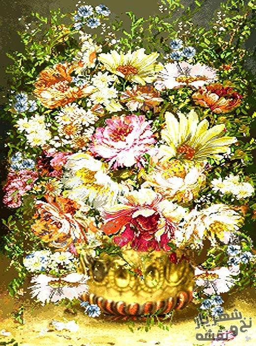 نخ و نقشه و مصالح آماده بافت فرش دستبافت طرح گل و گلدان کد 1728