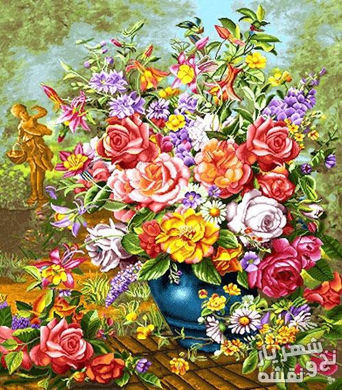 مصالح کامل بافت تابلو فرش طرح گل و گلدان کد 287