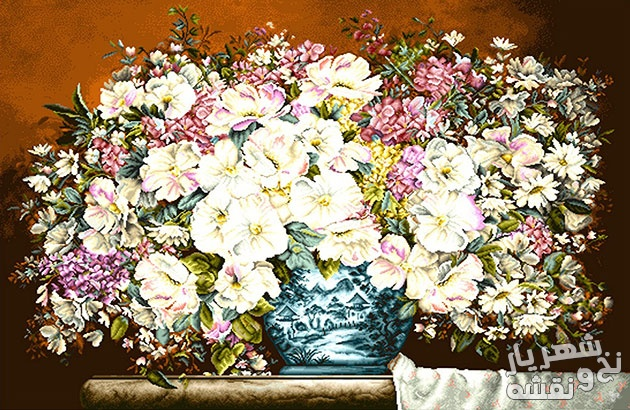 نخ و نقشه و وسایل آماده بافت تابلوفرش گل و گلدان کد 1753