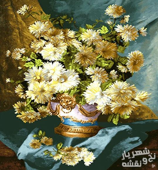 نخ و نقشه آماده بافت تابلو فرش طرح گل و گلدان کد 272