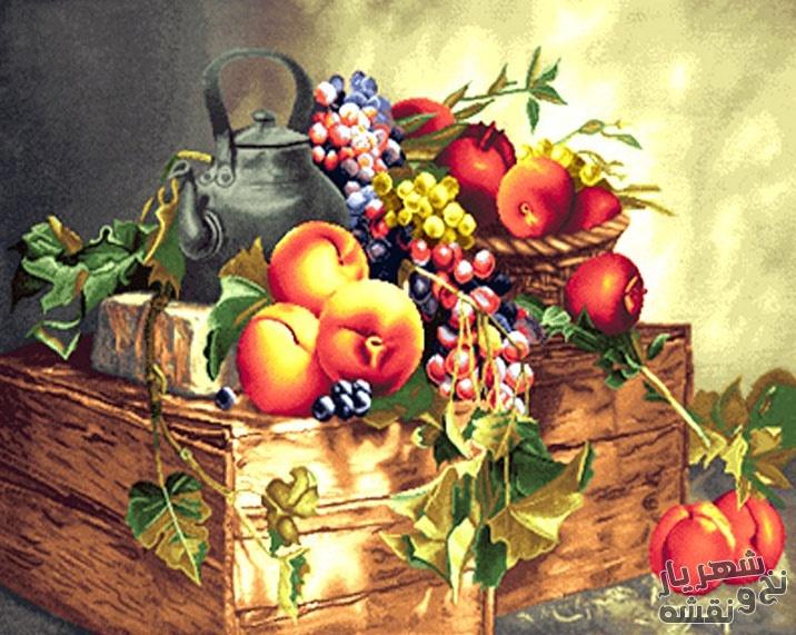 نخ و نقشه و مصالح بافت تابلو فرش طرح جعبه میوه کد 247