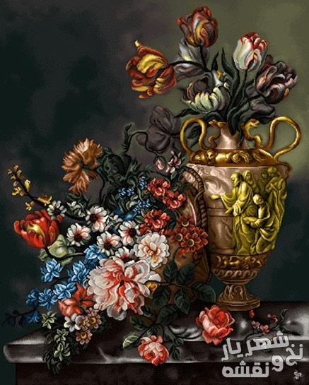 نخ و نقشه تابلو فرش طرح گل و گلدان کد 4000