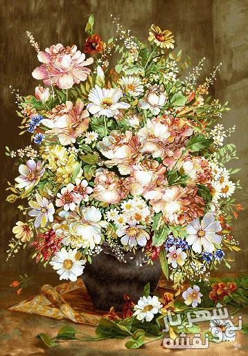 نخ و نقشه آماده بافت تابلو فرش طرح گل و گلدان (عمودی) - b17