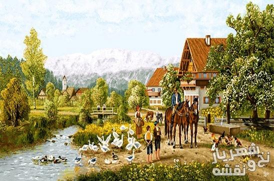 نخ و نقشه بافت تابلو فرش طرح منظره دهکده و رودخانه و کلبه کد 3010