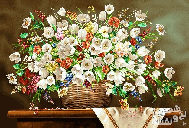 نخ و نقشه بافت تابلو فرش در منزل طرح گل و سبد جدید کد ب26