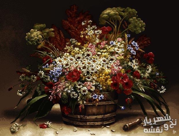نخ و نقشه و مصالح بافت تابلوفرش سبد گل های زیبا کد ب49