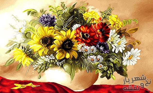 نخ و نقشه بافت تابلو فرش طرح گل و گلدان کد 1627
