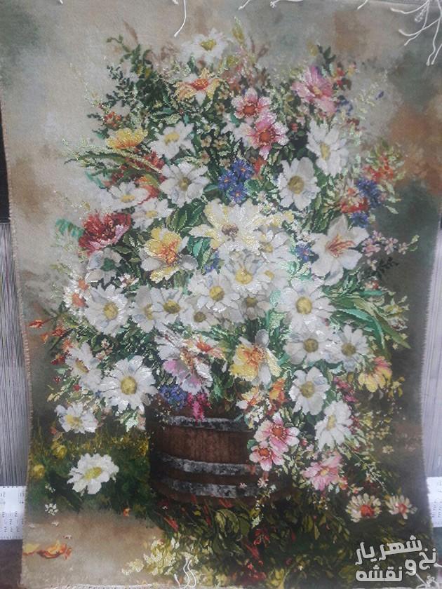تابلو فرش آماده و بافته شده ی طرح گل بابونه طولی کد r1