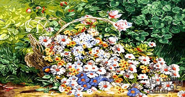 نخ و نقشه و لوازم بافت تابلو فرش در منزل طرح ریخته سبد گل بابونه کد 280