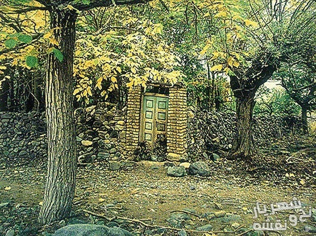 عکس تابلو فرش طرح منظره کوچه باغ گردو کد 1294