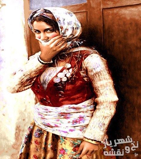 نخ و نقشه آماده بافت تابلو فرش دختر ایرانی کد 213