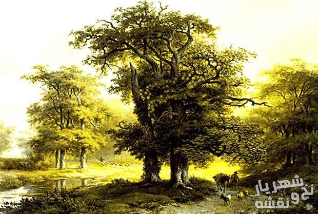 نخ و نقشه تابلو فرش زیبای طرح منظره درختان کد 558
