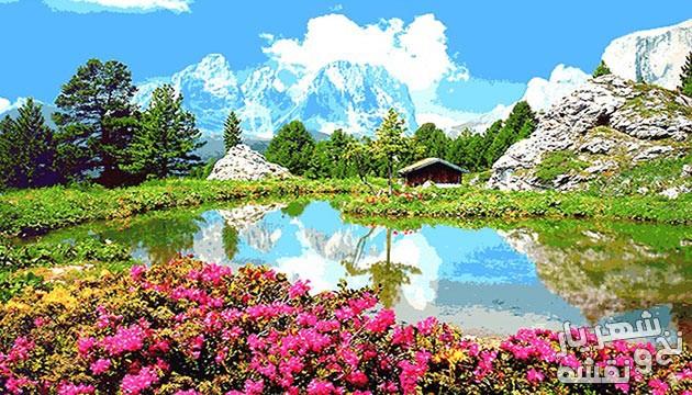 نخ و نقشه آماده بافت تابلو فرش منظره کوهستان کد 564
