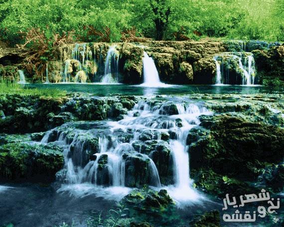 نخ و نقشه تابلو فرش طرح آبشار زیبا 2835