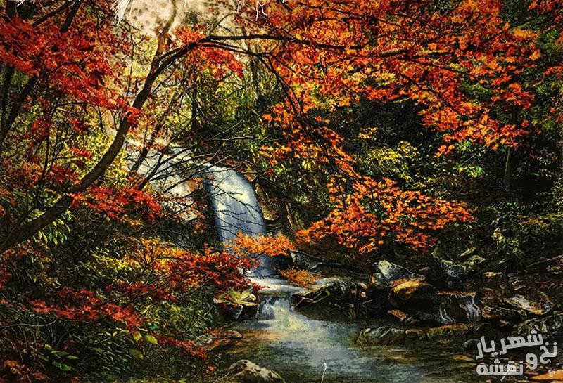 تابلو فرش منظره ی پاییزی آبشار کد 9695