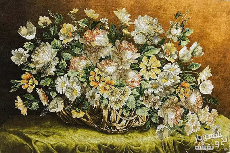 تابلو فرش دستباف سبد گل رز کد 9166