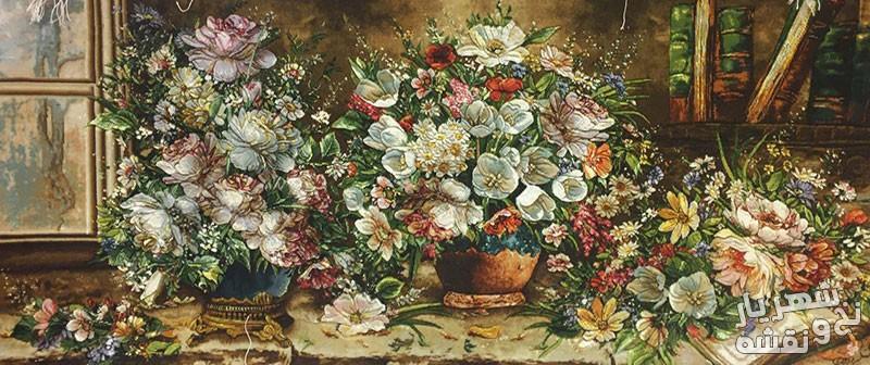 تابلو فرش دستباف 3 گلدان کد 9130