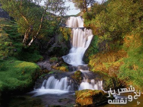 لوازم و مصالح بافت تابلو فرش طرح منظره آبشار کد 92455