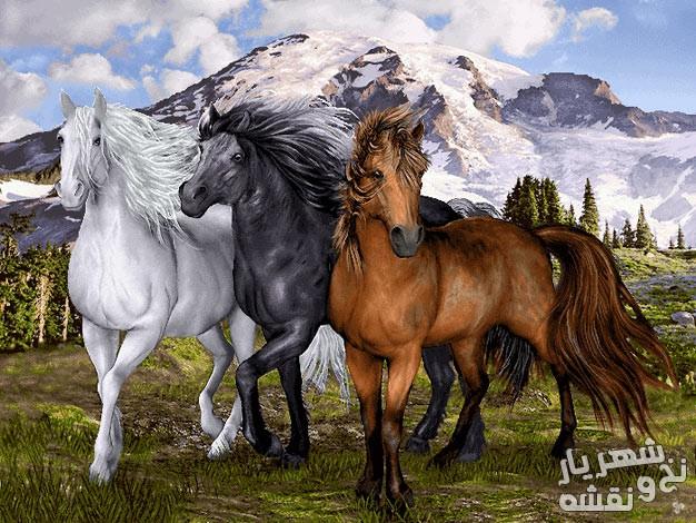 نخ و نقشه تابلوفرش طرح گله اسب زیبا کد 91525