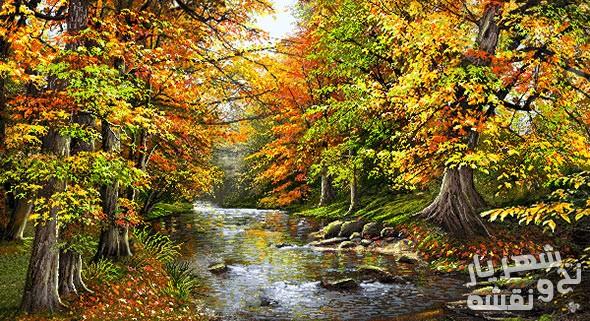 نخ و نقشه آماده بافت تابلو فرش طرح منظره پاییزی جنگل و رودخانه کد 2526
