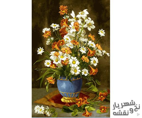 نخ و نقشه و لوازم آماده بافت تابلو فرش طرح گلدان گل بابونه کد 91299