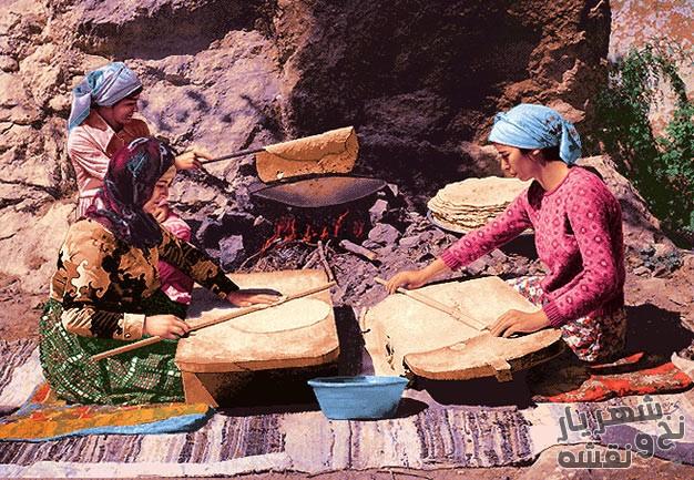 نخ و نقشه و مصالح کامل آماده بافت تابلو فرش طرح عشایر نان پز یا نانوای روستایی کد 91857